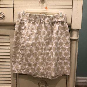 Banana Republic White/Tan Brown Polka Mini Skirt